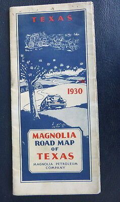 1930 Texas  road map Magnolia  oil  gas route 66 not paved