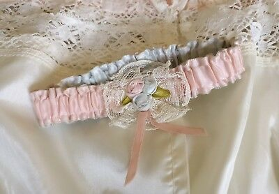 Vintage Ribbonwork Ribbon Roses Lace Pink Blue Satin Wedding Garter Handmade