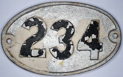 Old English cast metal oval house number 234 door gate plate fence plaque sign