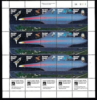 1985 Marshall Islands Halley's Comet Full Sheet 15 Decimal Stamps - Fresh Muh #1