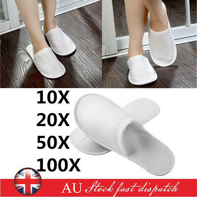 10/20/50/100 Pairs Unisex White Towelling Hotel Slippers Spa Shoes Disposable AU