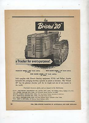 Bristol 20 Crawler Tractor Advertisement removed from 1952 Farming Magazine