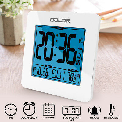 BALDR LCD Backlight Indoor Thermometer Temperature Calendar Snooze Alarm Clock