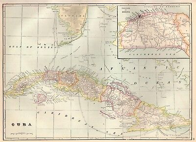 1911 Antique CUBA Map Beautiful 1900s Original Map of Cuba Island Decor 4592