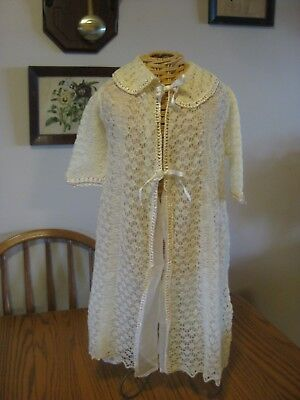 """Beautiful baby or doll gown White w/silk lining """"Webeeno"""" England"""