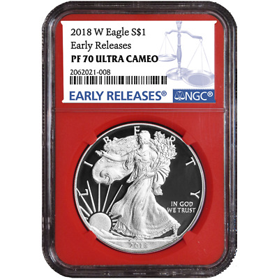 2018-W Proof $1 American Silver Eagle NGC PF70UC Blue ER Label Red Core