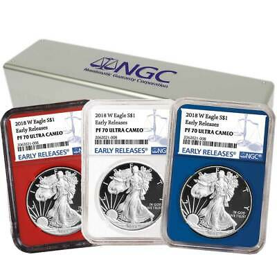 2018-W Proof $1 American Silver Eagle 3 pc. Set NGC PF70UC Blue ER Label Red Whi