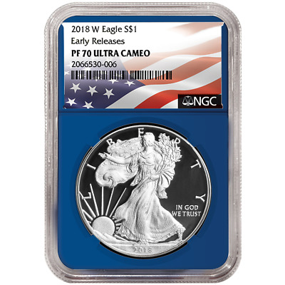 2018-W Proof $1 American Silver Eagle NGC PF70UC Flag ER Label Blue Core