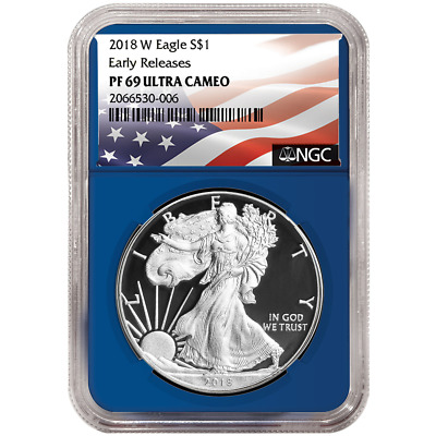 2018-W Proof $1 American Silver Eagle NGC PF69UC Flag ER Label Blue Core