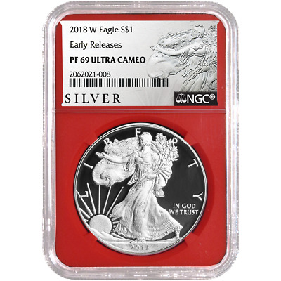 2018-W Proof $1 American Silver Eagle NGC PF69UC ALS ER Label Red Core