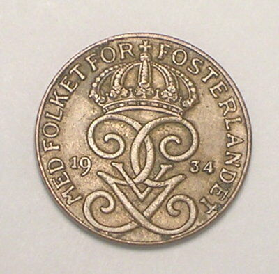 1934 Sweden Swedish One 1 Ore Crowned Monogram Coin VF