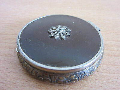 Antique Art Deco Vanity powder puff vanity mirrored compact with marcasites