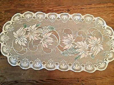 "ESTATE FIND! ANTIQUE LACE Floral Oblong Table Runner 28"" X 14"""