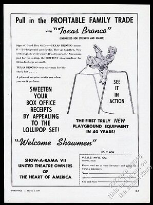 1964 VESS Texas Bronco child's toy riding horse on springs vintage trade ad