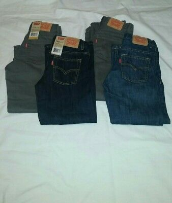~NEW~ LOT OF 4 Levi Boys Blue & Gray Jeans Size 7 Regular *2 are NWT*