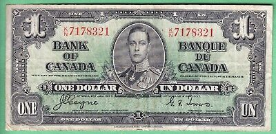 1937   Bank  Of Canada  One  Dollar      Note    Vg-F