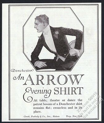 1919 J.C. Leyendecker man art Arrow Donchester evening shirt vintage print ad