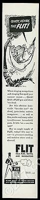 1945 Dr. Seuss hammock man and bug art Flit Insecticide vintage print ad