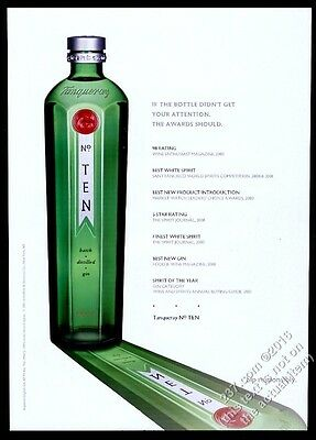 2001 Tanqueray No. Ten 10 Gin bottle photo awards list vintage print ad