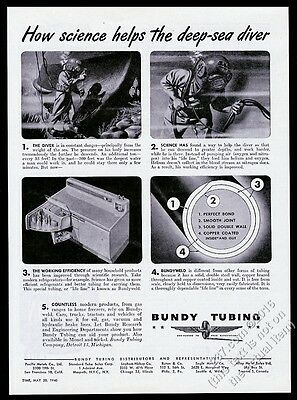 1946 deep-sea diving diver art Bundy Tubing vintage print ad