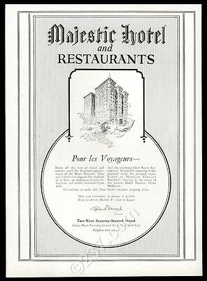 1924 Majestic Hotel Glow Room restaurant New York City vintage print ad