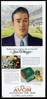 1950 Joe DiMaggio photo and art Avon shaving lotion after shave vintage print ad