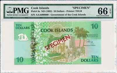 Government of the Cook Islands  $10 ND(1992) Specimen.   PMG  66EPQ
