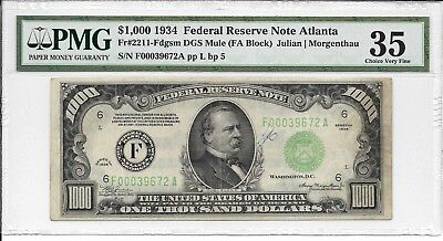 USA, Federal Reserve Note - $1000, 1934. Atlanta. PMG 35. Fr#2211-Fdgsm DGS Mule