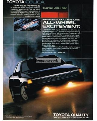1988 Toyota Celica Turbo All-Trac Black Vtg Print Ad