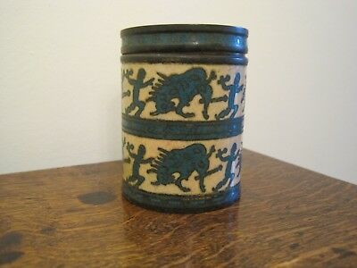 Antique Chinese Cloisonné Brass Enamel Spice Tobacco Canister Jar