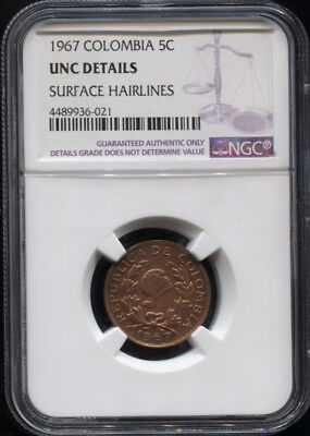 Tt 1967 Colombia 5 Centavos Ngc Unc Details - A Well Struck 50 Year Old Coin!