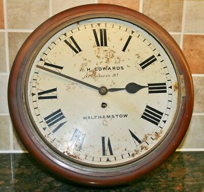 "Antique ""H. EDWARDS, WALTHAMSTOW"" FUSEE Mahogany Wall Clock for Restoration"