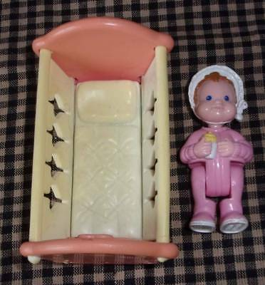 Fisher Price Loving Family Doll House 1994 Baby Girl & Pink Crib 1993
