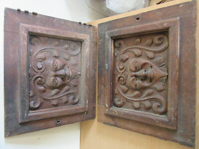 """Pair of Antique Victorian Oak Cabinet Doors with Face carved into them 19""""x22"""""""