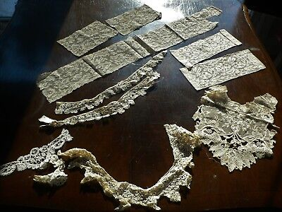 Lot of Antique Lace Trim Collars Cuffs Alencon, Bobbin Lace for Dolls Projects
