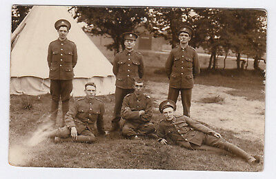 RP PC WW1 Era British Army Soldiers Of Notts & Derby Infantry Regiment At Camp