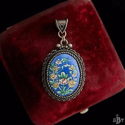 Antique Vintage Nouveau Ottoman Turkish Sterling Silver Painted Necklace Pendant