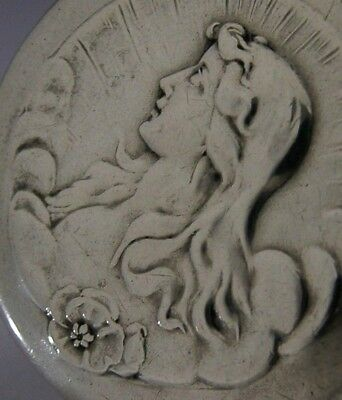 Beautiful English Art Nouveau Maiden Solid Sterling Silver Box Antique 1901