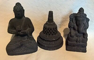 Indian Buddha, Ganesha & Temple Heavy Carved Style Figures Set Ornaments