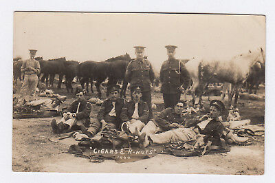 """RP PC WW1 British Army RFA Soldiers Smoking & Horses """" Cigars & K-Nuts """" At Camp"""