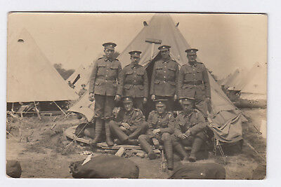 """RP PC WW1 Era British Army Service Corps Soldiers By Tent """"Clifton View"""" At Camp"""