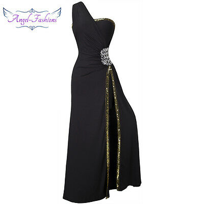 Angel-fashions Women One Shoulder Bead Mother of Bridesmaid Dress 027 S 4 6