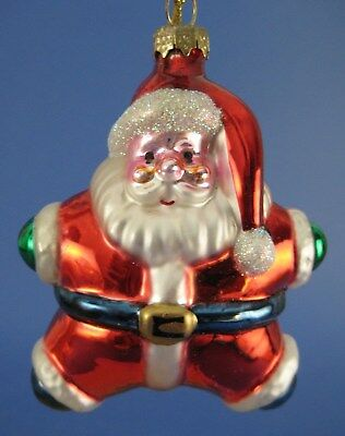 Star Shaped Santa Claus Glass Christmas Tree Ornament Thomas Pacconi