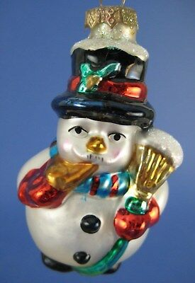 Snowman Glass Christmas Tree Ornament Thomas Pacconi Broom Scarf Top Hat