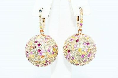 $1,500 18.00Ct Natural Round Cut Multi-Color Sapphire Cluster Ball Earrings
