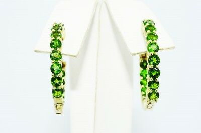 $500 3.00Ct Natural Chromium Diopside In & Out Hoop Earrings .925 Silver