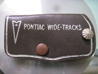 "Vintage Nos Pontiac Dealer Dark Brown Leather Key Chain ""pontiac Wide Tracks"" Nr"