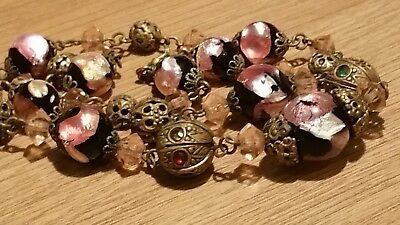 Czech Antique Art Deco Pink Foil Glass Bead Wired Necklace