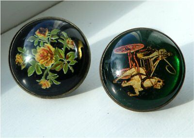 Two Antique Vintage Domed Glass Bridle Rosettes, Horse & Buggy, Roses