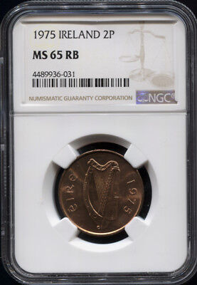 Tt 1975 Ireland Two Pingin Ngc Ms 65 Rb - Rare In Certification, Finest Known!